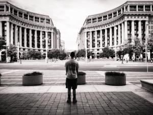 My oldest son, standing in front of the National Archives in D.C.